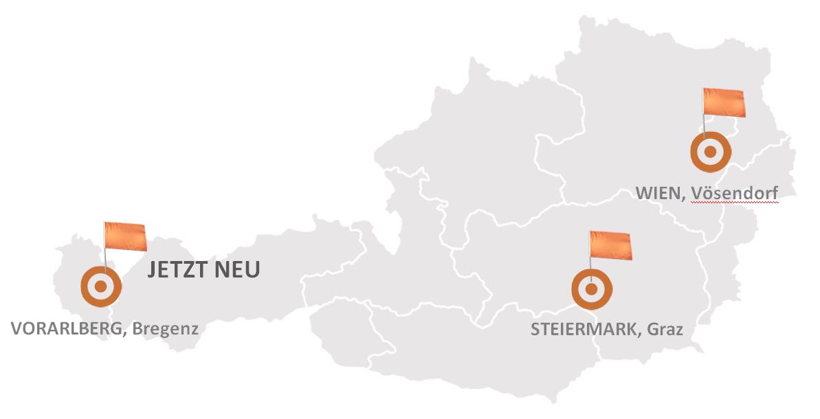 Die drei SIPconnect Standorte auf einer Österreichkarte
